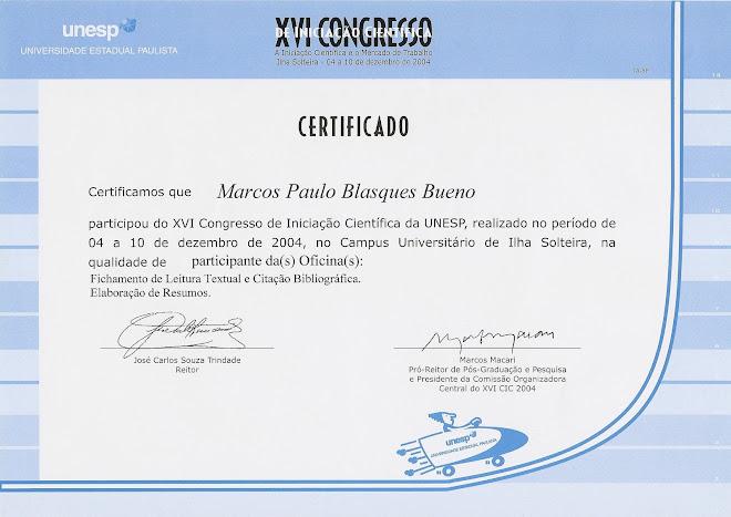 XVI Congresso de Iniciação Científica da UNESP - Oficinas
