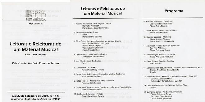 Execução de obra de autoria própria em concerto - PET Leituras e Releituras de um Material Musical