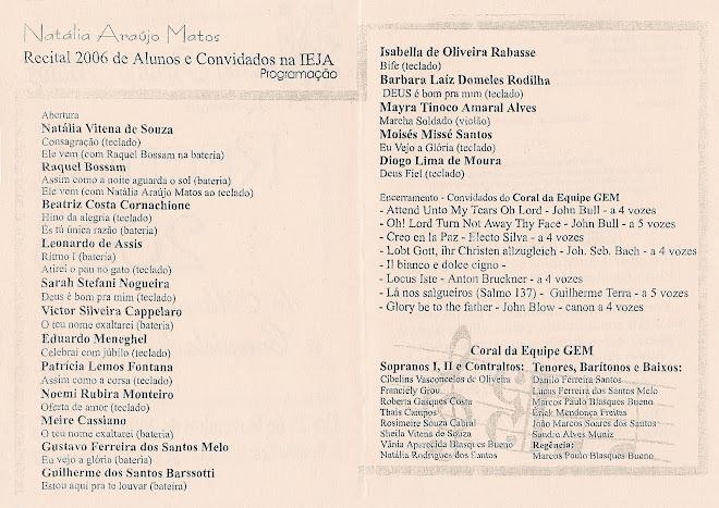 RECITAL 2006 Natalia Araújo Matos PROGRAMAÇÃO (verso)
