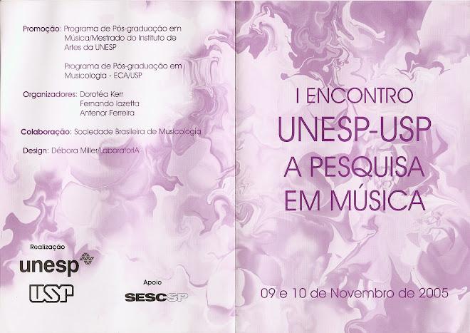 I Encontro UNESP-USP A Pesquisa em Música - Programa (frente)