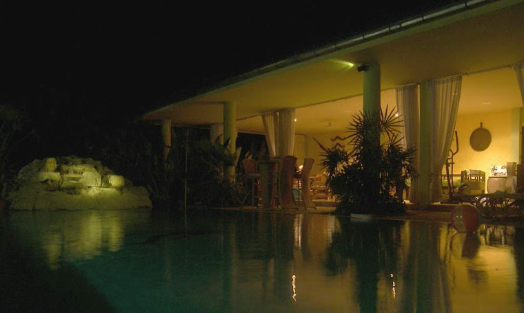 The shade room and waterfall pool