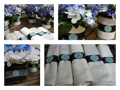 some floral containers with their monogram and matching napkin rings
