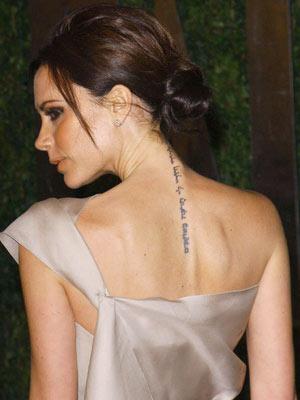 victoria beckham tattoo on her wrist. victoria beckham tattoos.