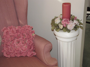 Candle and Rose Pillow