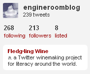 Twitter promoting Fledgling wine