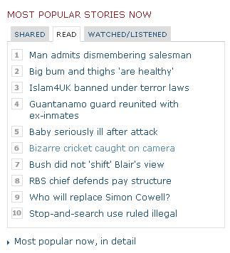BBC News widget with bizarre cricket story