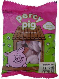 A packet of Percy Pig sweets