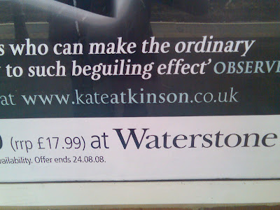 The web address on the billboard advert reads www.kateatkinson.co.uk, with the 'atkinson' in bold