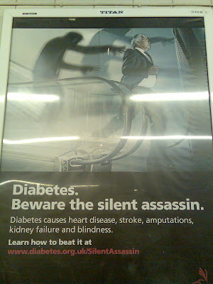 A warning poster with the message 'Diabetes causes heart disease, stroke, amputations, kidney failure and blindness'
