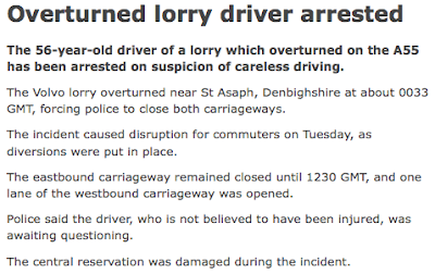 BBC News, 'Overturned lorry driver arrested'