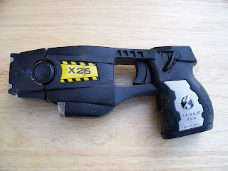 TASER picture from Wikipedia Commons: see http://commons.wikimedia.org/wiki/File:Police_issue_X26_TASER.jpg