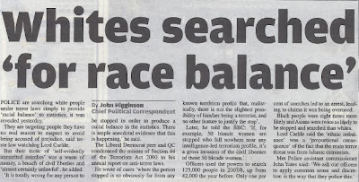Metro headline: Whites searched for race balance