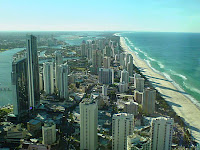 The view north towards Southport from the the Q1 building in Surfers Paradise