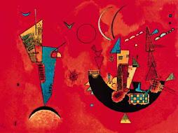 La izquierda, un barco, una media luna en un cielo rojo...