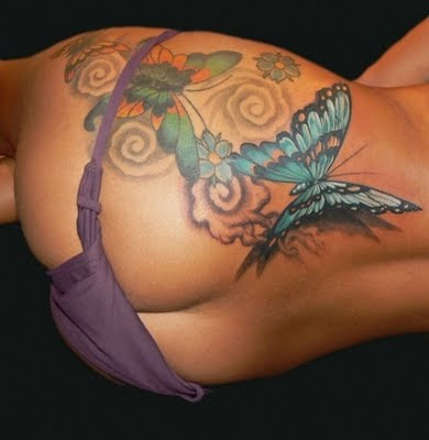 Sexy Butterfly Butt Tattoo and Side Body Tattoo