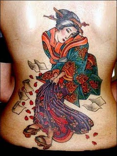 Sexy Geisha Back Body Tattoo Design