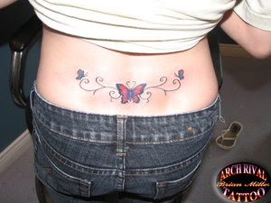 Lower Back Girly Butterfly tattoo Design