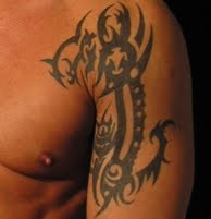 Tribal Tattoo Design on Male Upper Arm
