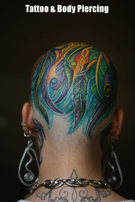 Full Head Tattoo design and Body Piercing