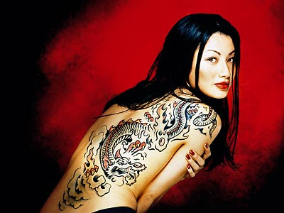 Sexy Female Back Tattoo - Dragon tattoo