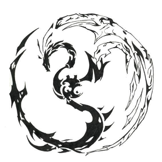 ferocious flying chinese dragon tattoo design. Another cool abstract