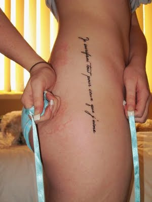 Letter Tattoo Design on Sexy Female Side Body