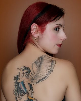Love Tattoo on Girl Back Body