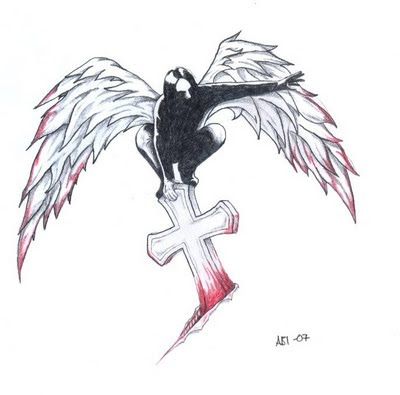 Cross Angel Wings Tattoo Design