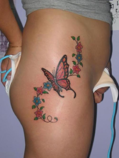 Butterfly and Flower Tattoo Design - Feminine Tattoos