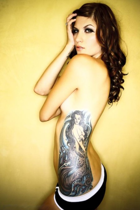 Sexy Tattoo Model - Side body Mermaid Tattoo Design