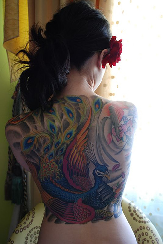 Tatooed Women - Peacock Tattoo Design on Back