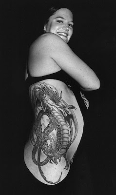 Tattooed Women Side-body Dragon Tattoo Design