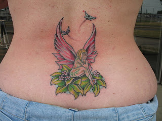 Angel Tattoo Design on Girls Lower Back