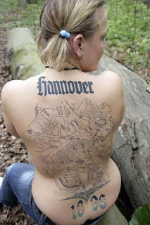 Hannover 1896 Map Tattoo on Girls Back