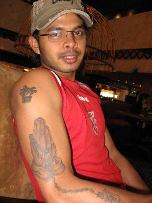 indian cricketer sreesanth tattoo celebrity tattoo designs amazon tattoo. Black Bedroom Furniture Sets. Home Design Ideas