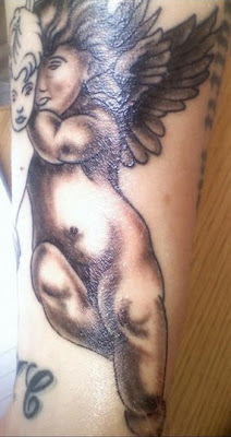 Black and Grey Cherub Angel Tattoo on Arms