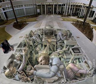 3d pavement art with chalk