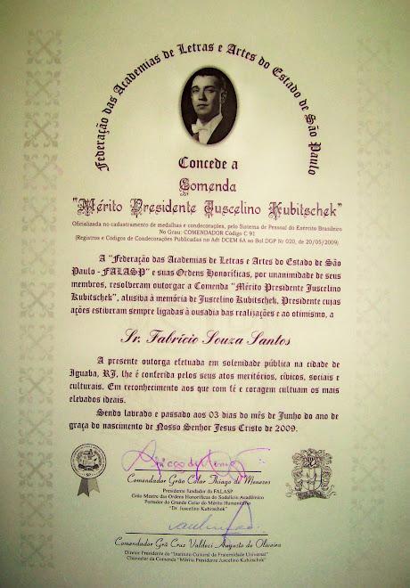 DIPLOMA DE COMENDADOR GRANDE OFICIAL DE FABRÍCIO SANTOS