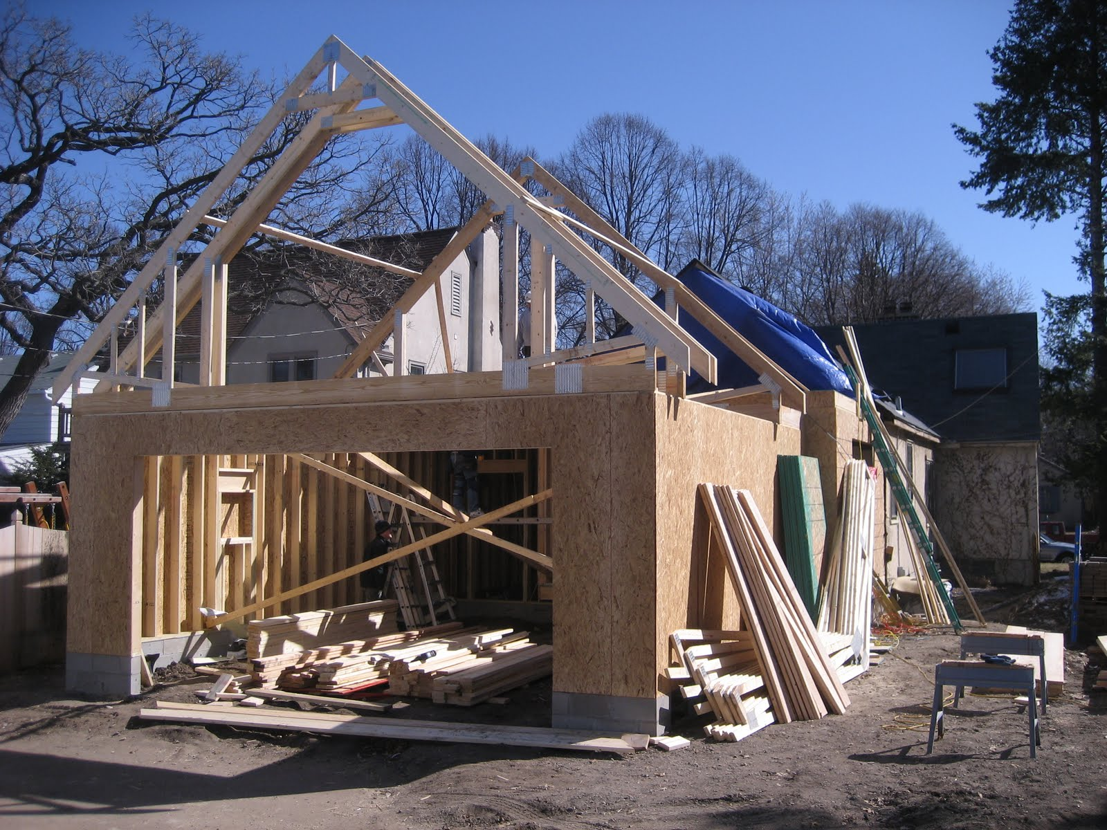 Swanson residence framing trusses floor joists for Bonus room truss design
