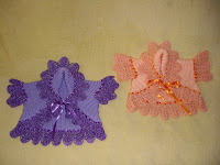 Плетиво за бебе в цвят лила и праскова