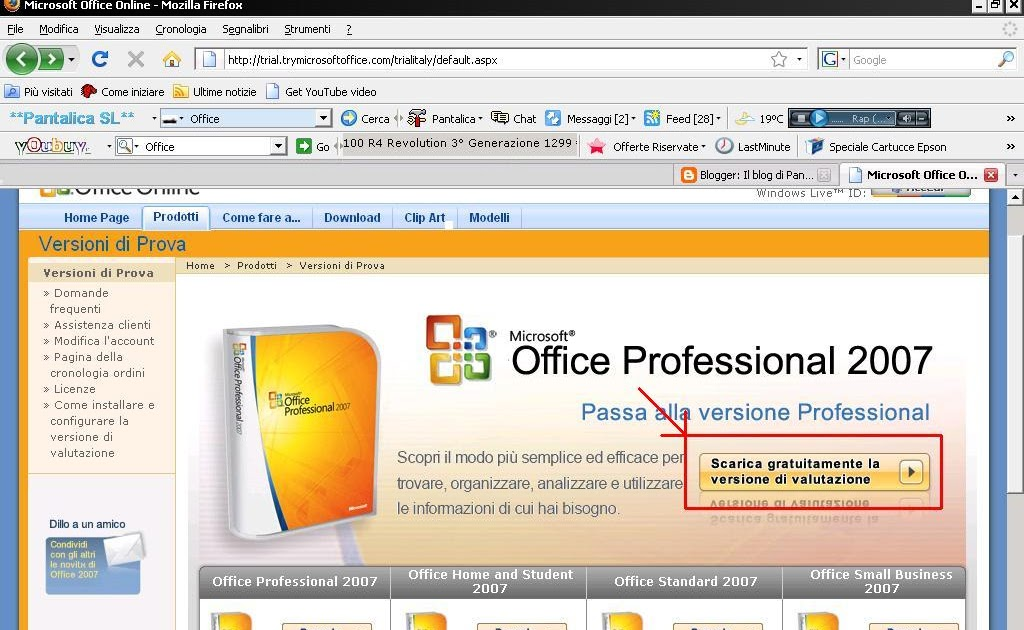 inserire seriale office 2007