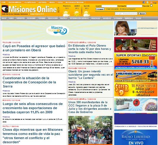 El diario digital misiones online tiene nuevo formato for Diarios del espectaculo