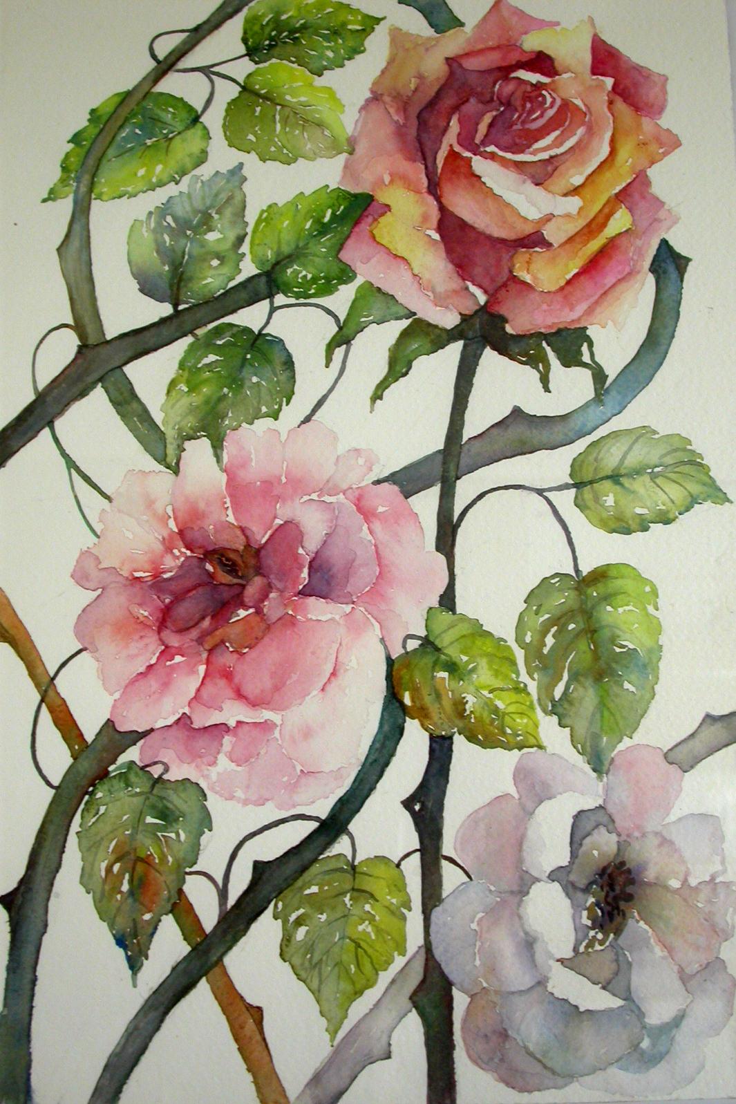 Dipinti di nara burgalassi fiori e foglie acqua e colore for Fiori di ciliegio dipinti