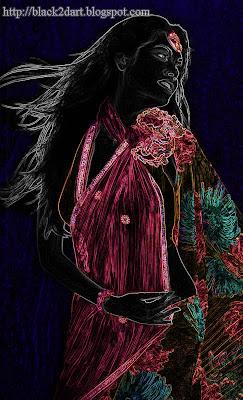 Indian Model Posing in Printed Designer Saree