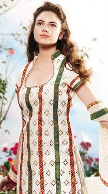 Pakistani Model posing in Deep Neck Churidar Dress