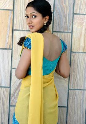 Sheela in half saree with ruffled sleeves blouse design