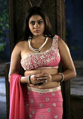 Namitha in designer one shoulder blouse design