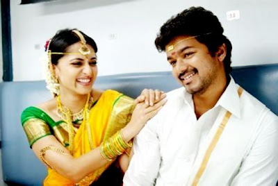Anushka in Yellow colour Bridal Saree Vettaikaran