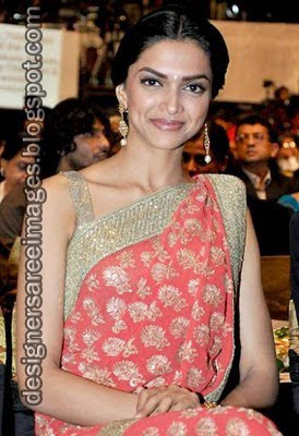 Deepika Padukone in pink colour designer saree