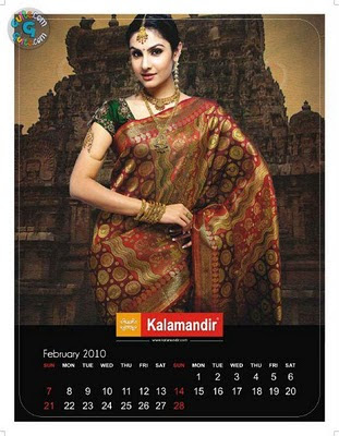 Model posing in Silk Saree Kalamandir